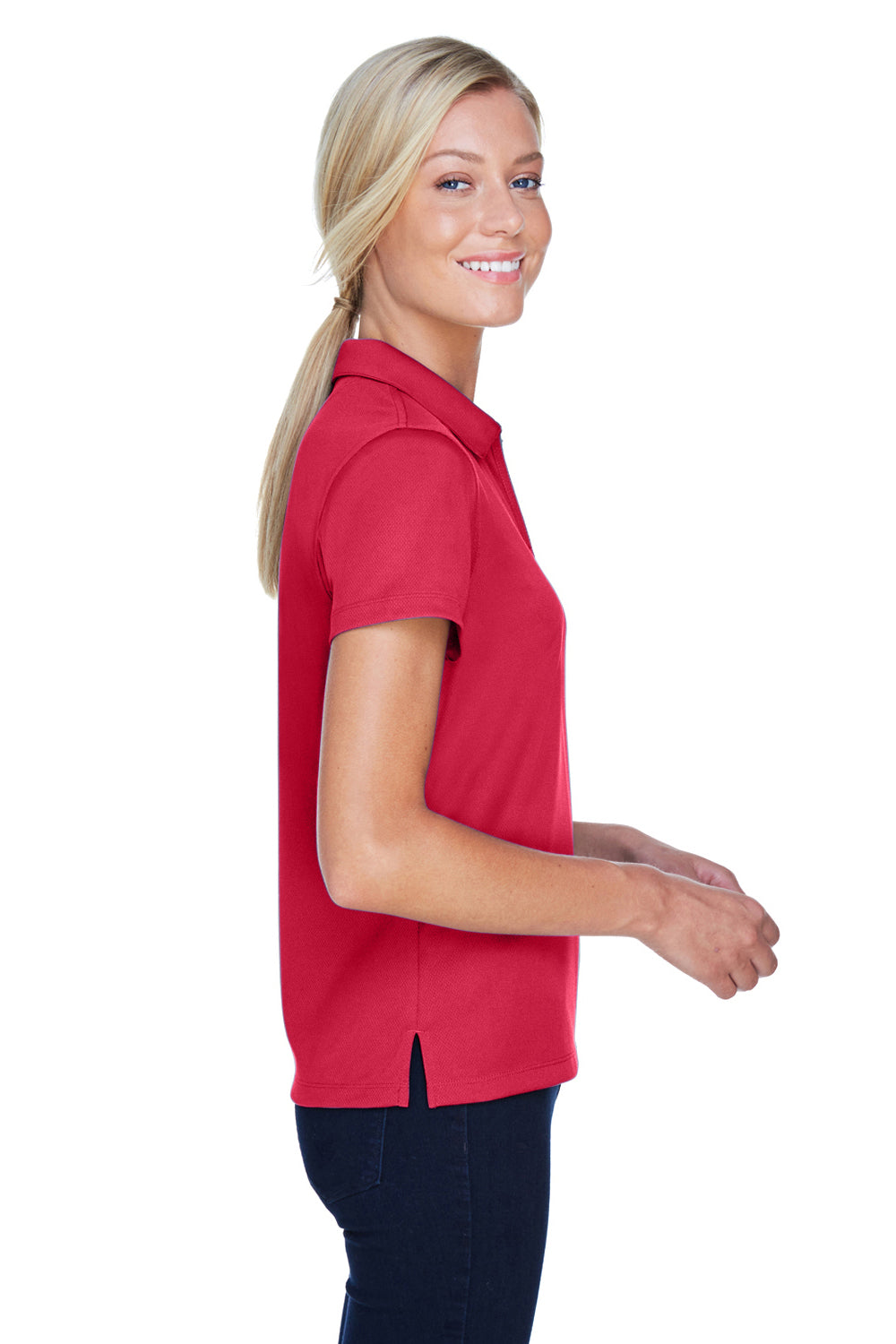 Harriton M353W Womens Double Mesh Moisture Wicking Short Sleeve Polo Shirt Red Side