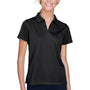 Harriton Womens Double Mesh Moisture Wicking Short Sleeve Polo Shirt - Black