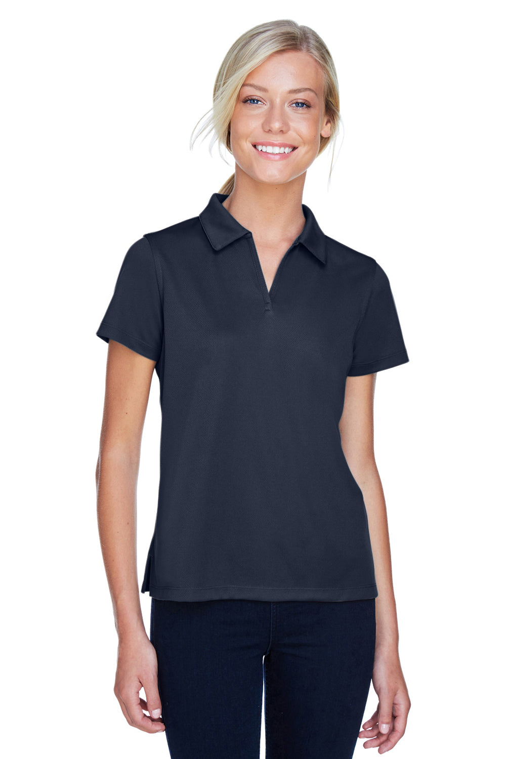 Harriton M353W Womens Double Mesh Moisture Wicking Short Sleeve Polo Shirt Navy Blue Front