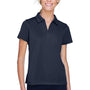Harriton Womens Double Mesh Moisture Wicking Short Sleeve Polo Shirt - Navy Blue