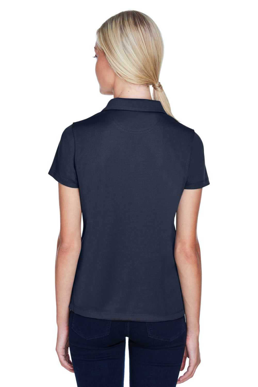 Harriton M353W Womens Double Mesh Moisture Wicking Short Sleeve Polo Shirt Navy Blue Back
