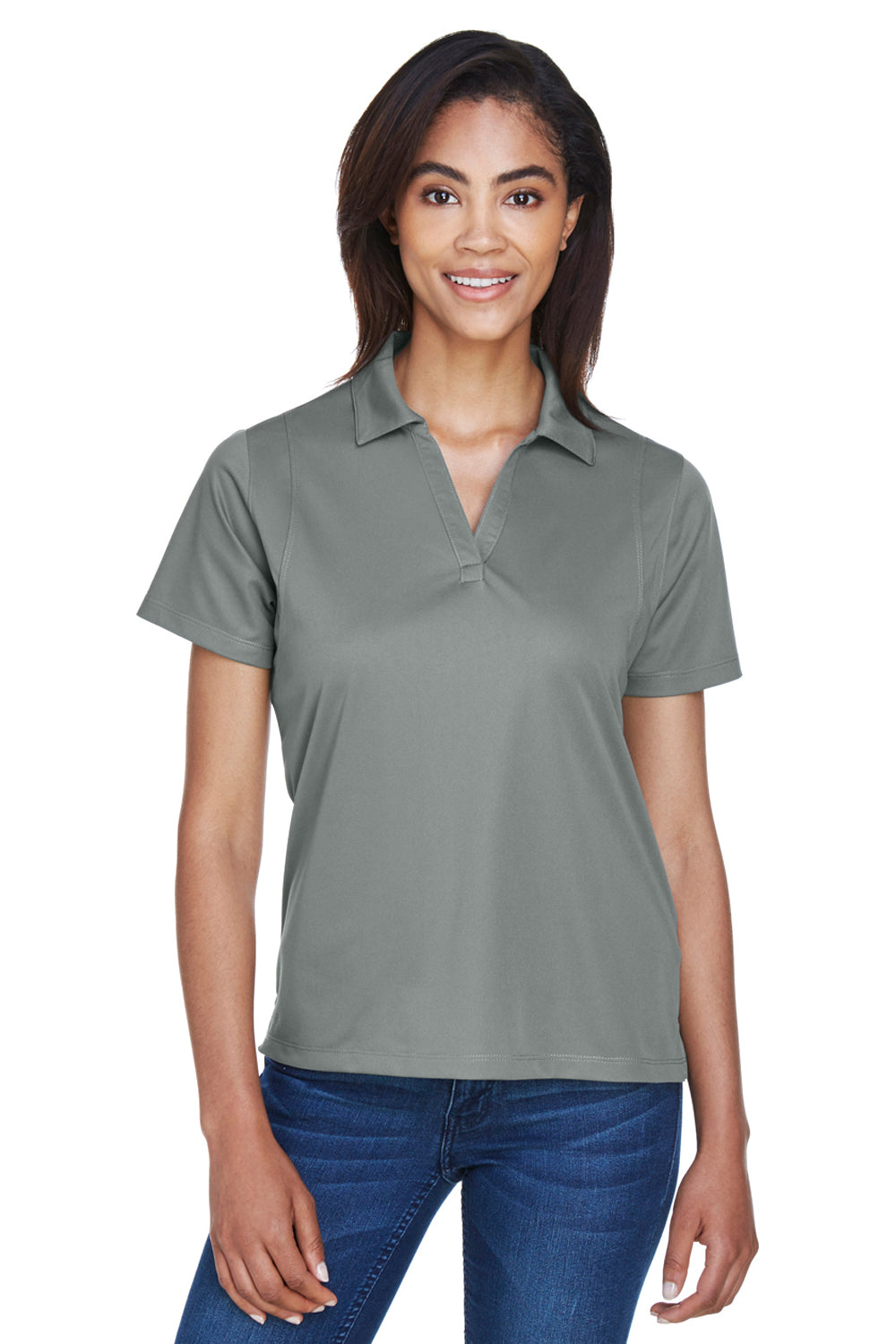 Harriton M354W Womens Moisture Wicking Short Sleeve Polo Shirt Charcoal Grey Front