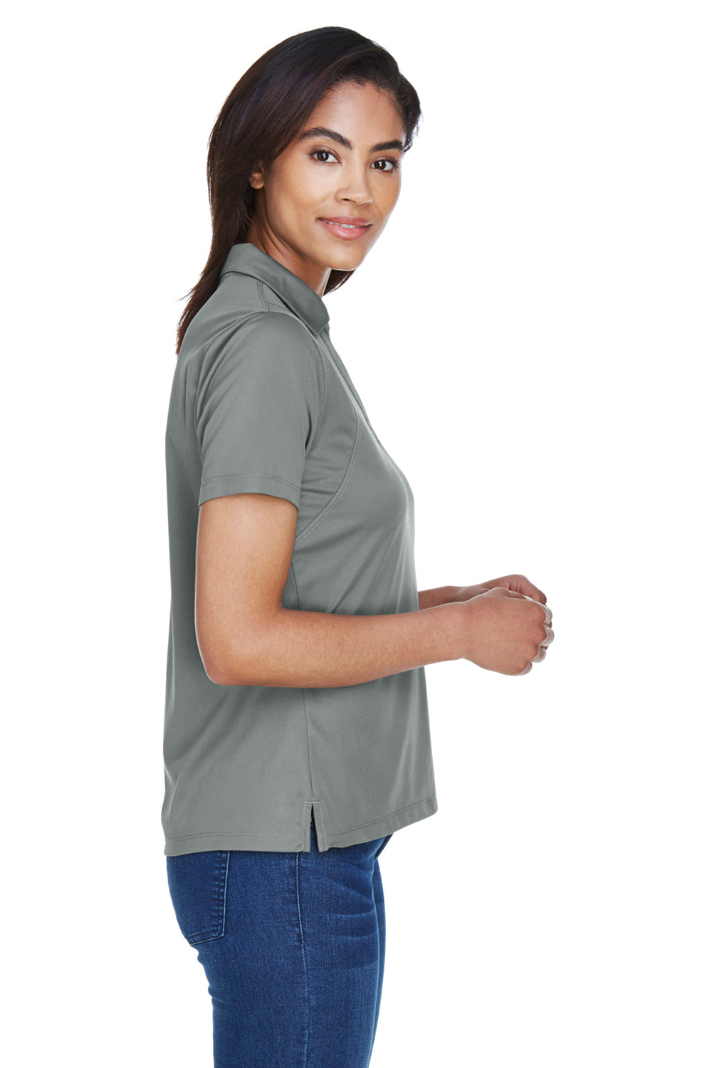 Harriton M354W Womens Moisture Wicking Short Sleeve Polo Shirt Charcoal Grey Side