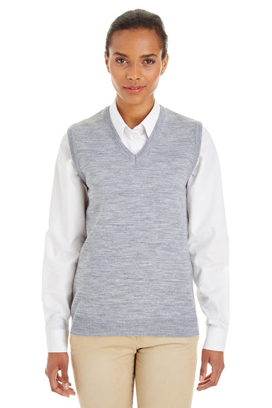Harriton M415W Womens Pilbloc V-Neck Sweater Vest Heather Grey Front