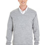 Harriton Mens Pilblock V-Neck Long Sleeve Sweater - Heather Grey