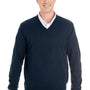 Harriton Mens Pilblock V-Neck Long Sleeve Sweater - Dark Navy Blue