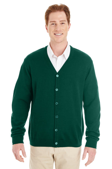 Harriton M425 Mens Pilbloc Button Down Long Sleeve Cardigan Sweater Hunter Green Front