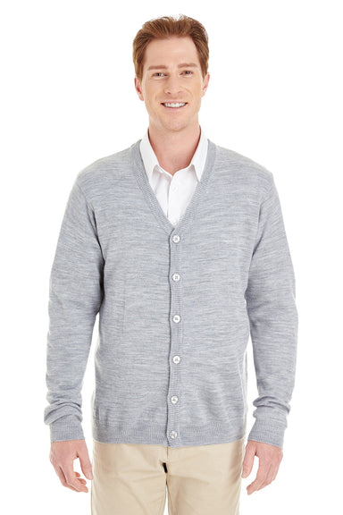 Harriton M425 Mens Pilbloc Button Down Long Sleeve Cardigan Sweater Heather Grey Front