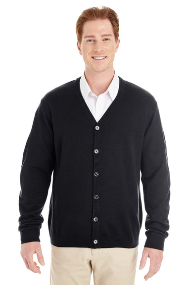 Harriton M425 Mens Pilbloc Button Down Long Sleeve Cardigan Sweater Black Front