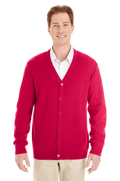 Harriton M425 Mens Pilbloc Button Down Long Sleeve Cardigan Sweater Red Front