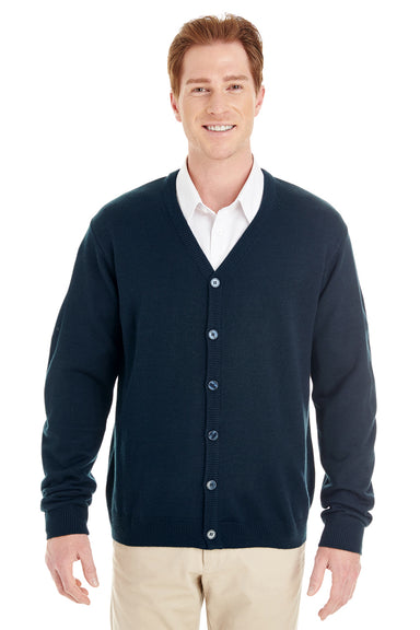 Harriton M425 Mens Pilbloc Button Down Long Sleeve Cardigan Sweater Navy Blue Front