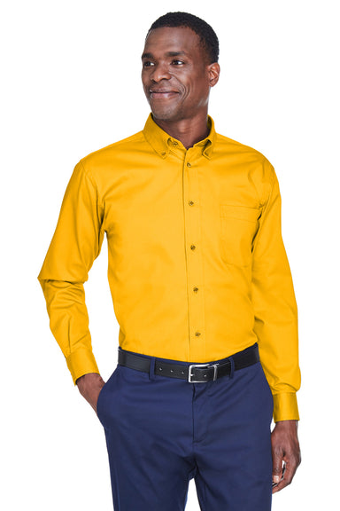 Harriton M500 Mens Wrinkle Resistant Long Sleeve Button Down Shirt w/ Pocket Gold Front