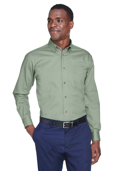 Harriton M500 Mens Wrinkle Resistant Long Sleeve Button Down Shirt w/ Pocket Dill Green Front