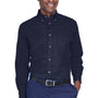 Harriton Mens Wrinkle Resistant Long Sleeve Button Down Shirt w/ Pocket - Navy Blue
