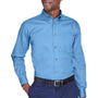 Harriton Mens Wrinkle Resistant Long Sleeve Button Down Shirt w/ Pocket - Light College Blue