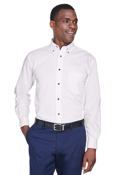 Harriton M500 Mens Wrinkle Resistant Long Sleeve Button Down Shirt w/ Pocket White Front