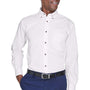 Harriton Mens Wrinkle Resistant Long Sleeve Button Down Shirt w/ Pocket - White