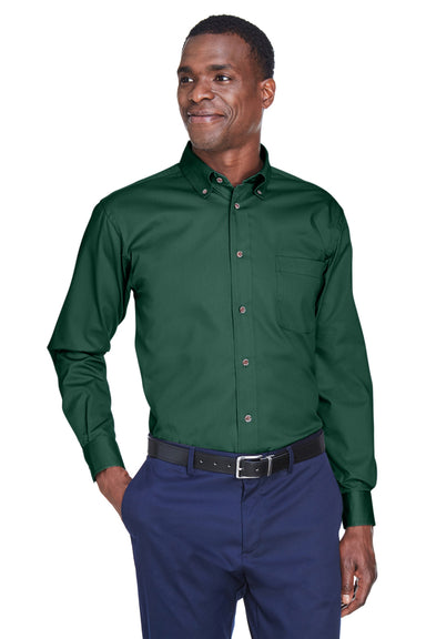 Harriton M500 Mens Wrinkle Resistant Long Sleeve Button Down Shirt w/ Pocket Hunter Green Front