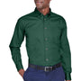 Harriton Mens Wrinkle Resistant Long Sleeve Button Down Shirt w/ Pocket - Hunter Green