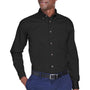 Harriton Mens Wrinkle Resistant Long Sleeve Button Down Shirt w/ Pocket - Black