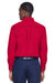 Harriton M500 Mens Wrinkle Resistant Long Sleeve Button Down Shirt w/ Pocket Red Back