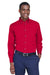 Harriton M500 Mens Wrinkle Resistant Long Sleeve Button Down Shirt w/ Pocket Red Front