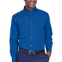 Harriton Mens Wrinkle Resistant Long Sleeve Button Down Shirt w/ Pocket - French Blue
