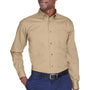 Harriton Mens Wrinkle Resistant Long Sleeve Button Down Shirt w/ Pocket - Stone