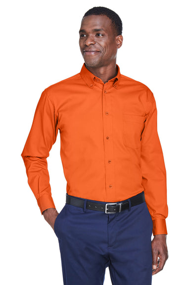 Harriton M500 Mens Wrinkle Resistant Long Sleeve Button Down Shirt w/ Pocket Orange Front