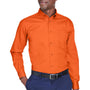 Harriton Mens Wrinkle Resistant Long Sleeve Button Down Shirt w/ Pocket - Team Orange