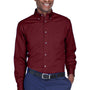 Harriton Mens Wrinkle Resistant Long Sleeve Button Down Shirt w/ Pocket - Wine
