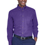 Harriton Mens Wrinkle Resistant Long Sleeve Button Down Shirt w/ Pocket - Team Purple