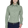 Harriton Womens Wrinkle Resistant Long Sleeve Button Down Shirt - Dill Green
