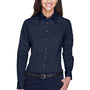 Harriton Womens Wrinkle Resistant Long Sleeve Button Down Shirt - Navy Blue