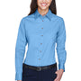 Harriton Womens Wrinkle Resistant Long Sleeve Button Down Shirt - Light College Blue