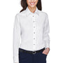 Harriton Womens Wrinkle Resistant Long Sleeve Button Down Shirt - White