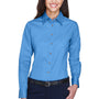 Harriton Womens Wrinkle Resistant Long Sleeve Button Down Shirt - Nautical Blue