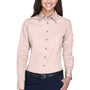 Harriton Womens Wrinkle Resistant Long Sleeve Button Down Shirt - Blush Pink