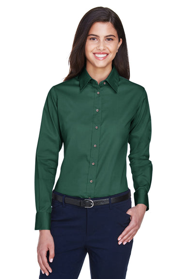 Harriton M500W Womens Wrinkle Resistant Long Sleeve Button Down Shirt Hunter Green Front