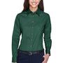 Harriton Womens Wrinkle Resistant Long Sleeve Button Down Shirt - Hunter Green