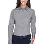 Harriton Womens Wrinkle Resistant Long Sleeve Button Down Shirt - Dark Grey