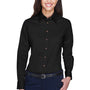 Harriton Womens Wrinkle Resistant Long Sleeve Button Down Shirt - Black