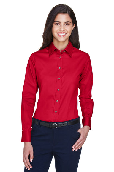 Harriton M500W Womens Wrinkle Resistant Long Sleeve Button Down Shirt Red Front
