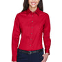 Harriton Womens Wrinkle Resistant Long Sleeve Button Down Shirt - Red