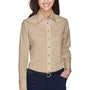 Harriton Womens Wrinkle Resistant Long Sleeve Button Down Shirt - Stone