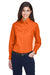 Harriton M500W Womens Wrinkle Resistant Long Sleeve Button Down Shirt Orange Front