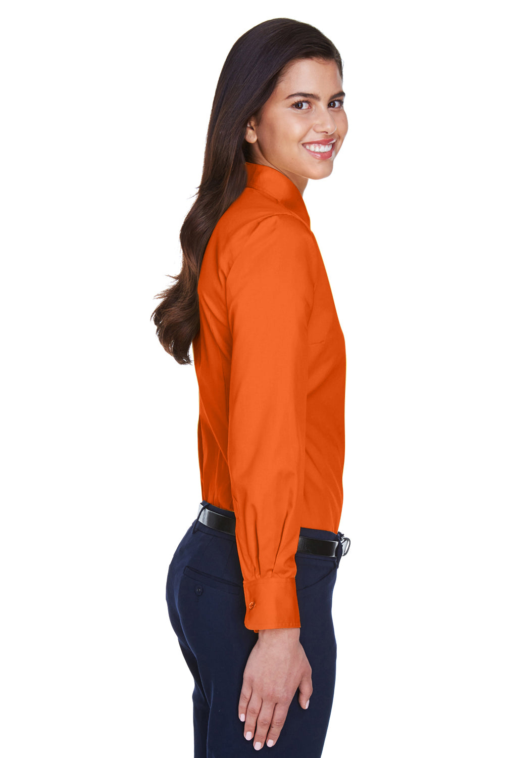 Harriton M500W Womens Wrinkle Resistant Long Sleeve Button Down Shirt Orange Side
