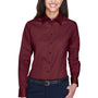 Harriton Womens Wrinkle Resistant Long Sleeve Button Down Shirt - Wine