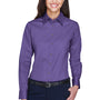 Harriton Womens Wrinkle Resistant Long Sleeve Button Down Shirt - Team Purple