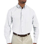 Harriton Mens Essential Long Sleeve Button Down Shirt w/ Pocket - White
